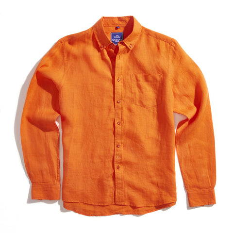 Linen Beach Shirt - Dark Orange - Oliver Jane London