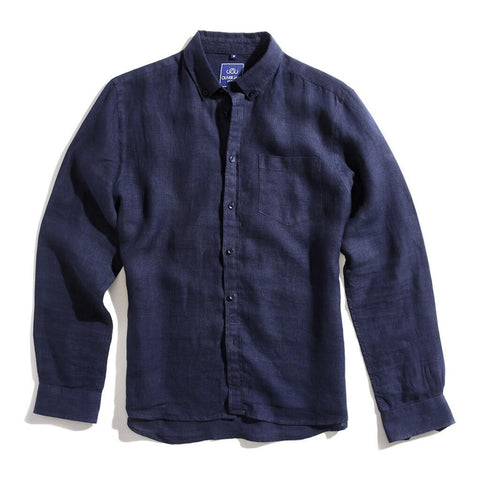 Oliver Jane Men's Linen Beach Shirt Navy Blue