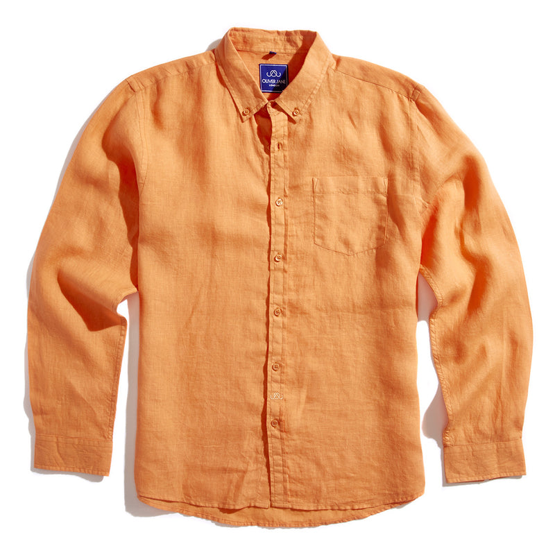 Linen Beach Shirt - Orange - Oliver Jane London