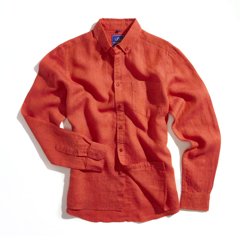 Linen Beach Shirt - Red - Oliver Jane London