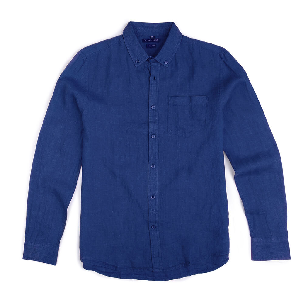 Oliver Jane Men's Linen Beach Shirt Royal Blue