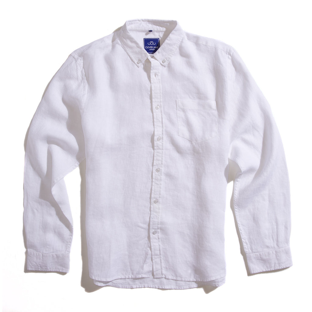 Linen Beach Shirt - White - Oliver Jane London