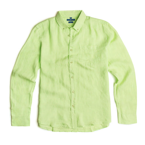 Oliver Jane Men's Linen Beach Shirt Mint Green