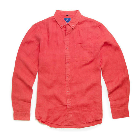Oliver Jane Men's Linen Beach Shirt Coral