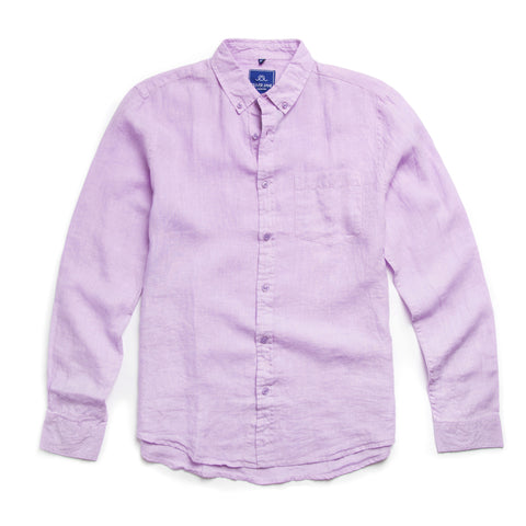 Oliver Jane Men's Linen Beach Shirt Lilac