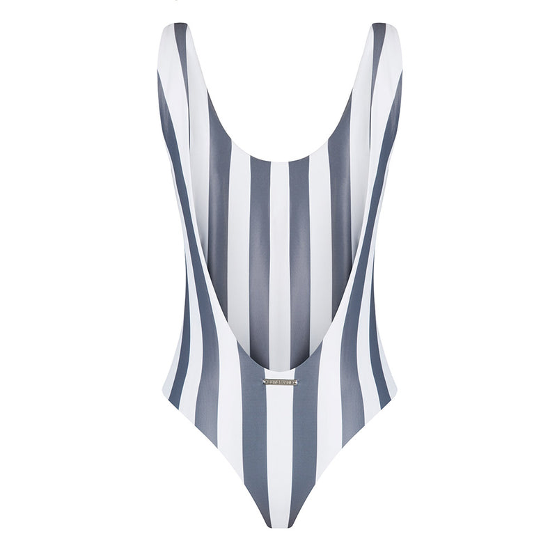 The Fullerton Striped Charcoal Grey Swimsuit