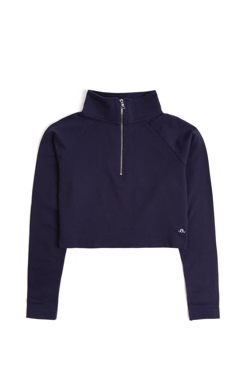 The Navy Alex Half-Zip Crop Top