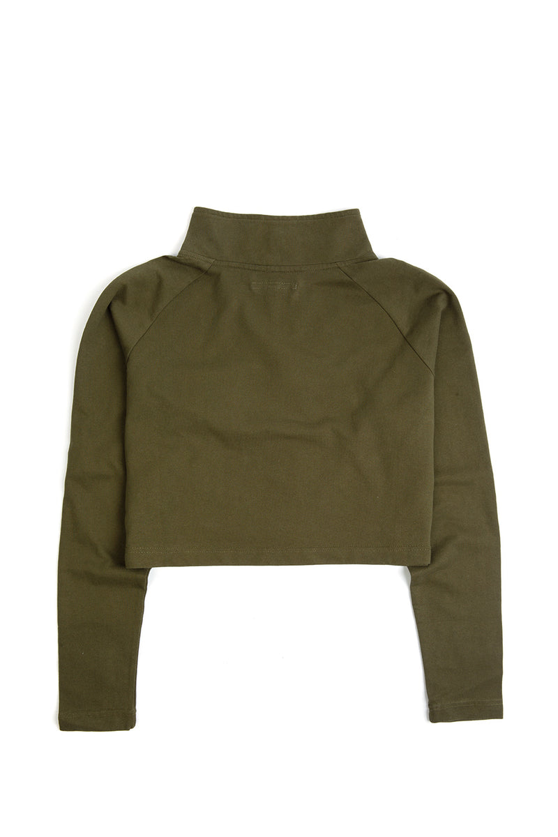 The Khaki Alex Half-Zip Crop Top