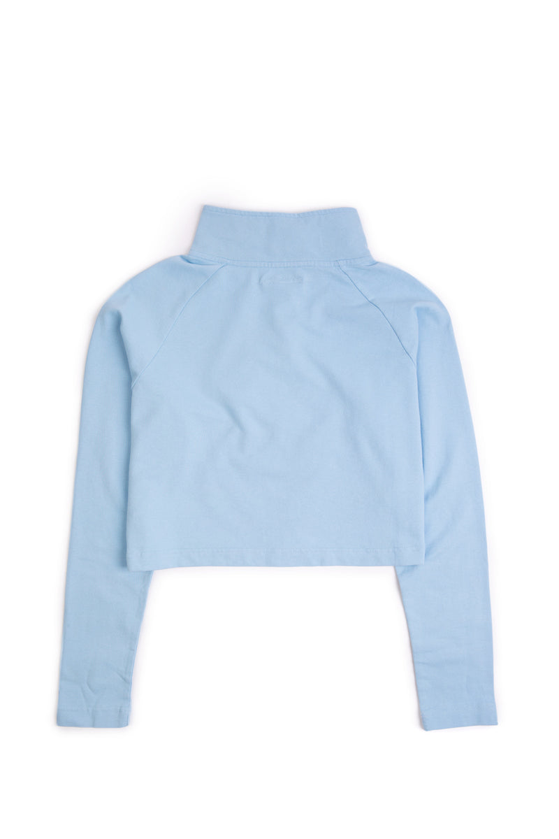 The Sky Blue Alex Half-Zip Crop Top