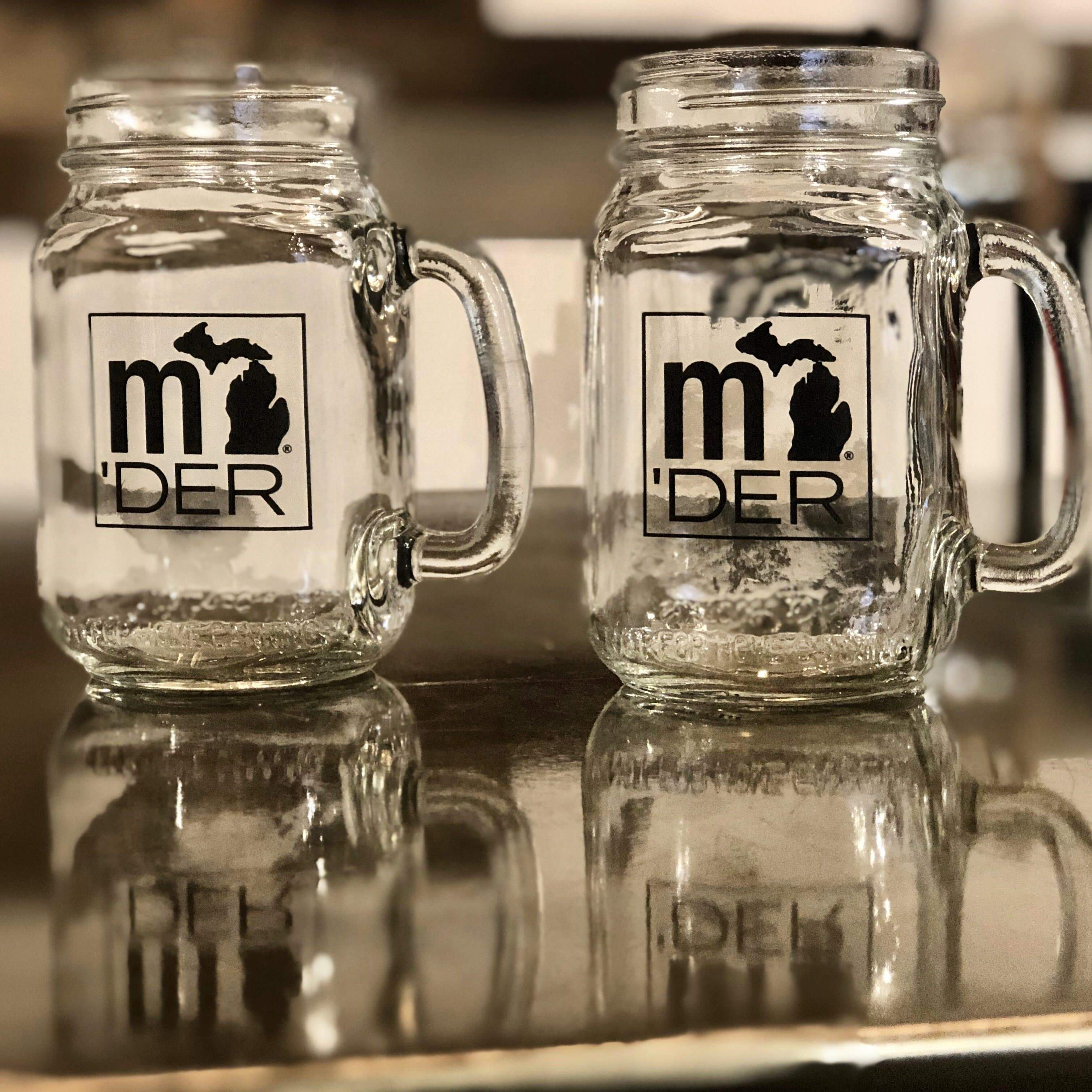 mi State of Mind Drinkware Michigander 16 oz. Mason Jar Glass Mugs