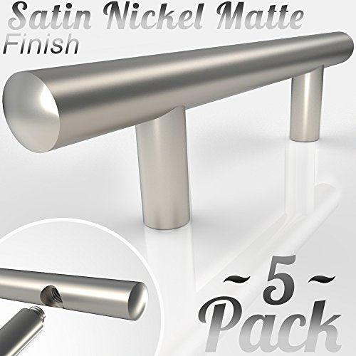 Bar Handle Pull: Round Precision Contoured Ends & Satin Nickel Matte Finish | 3