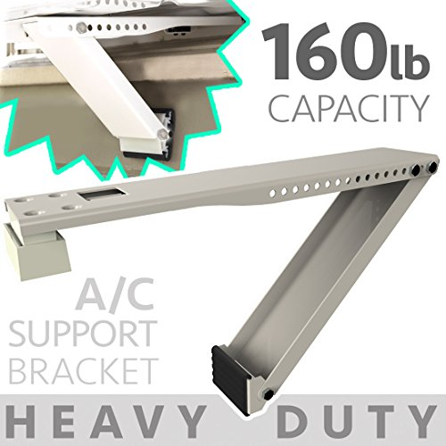 Universal Window Air Conditioner Bracket - 1pc Heavy-Duty Window AC Support - Support Air Conditioner Up to 160 lbs. - For 12000 BTU AC to 24000 BTU AC Units (HD 1PC ACB) (1, HEAVY DUTY- ONE ARM) (UPC: 693892926291)