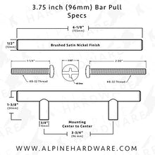 "Bar Handle Pull: Oil Rubbed Bronze Finish | 3"" & 3.75"" & 5"" Hole Center
