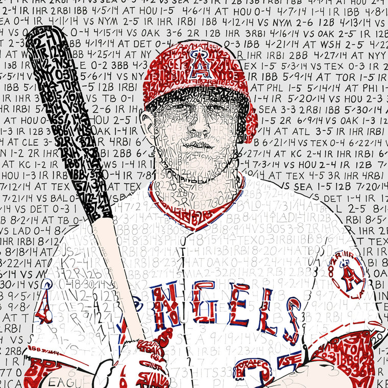 Los Angeles Angels Mike Trout Word Art