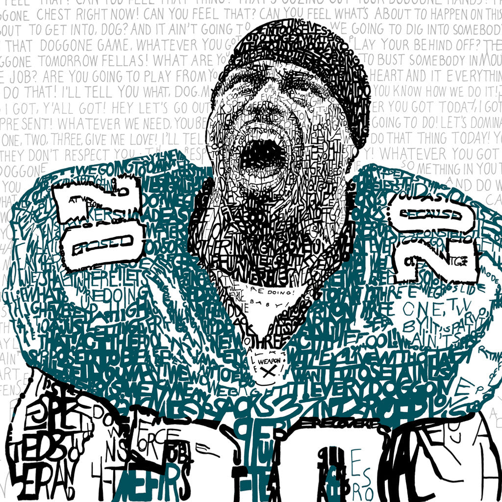 philadelphia eagles brian dawkins word art print phillywordart. Black Bedroom Furniture Sets. Home Design Ideas