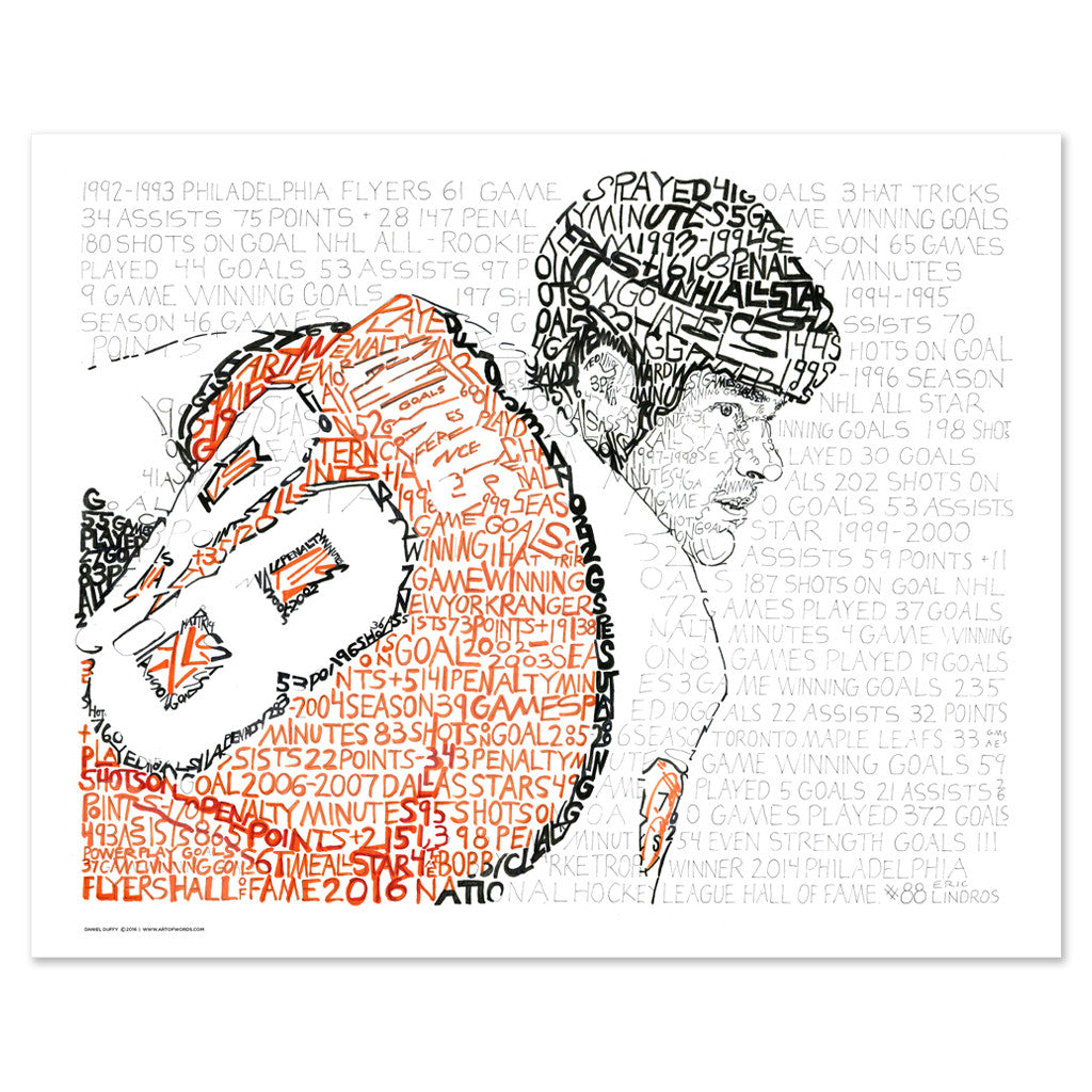 Philadelphia Flyers Eric Lindros Word Art  Poster