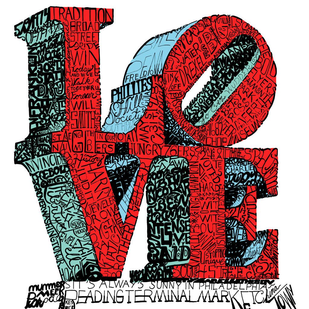 Philadelphia Love Statue Word Art Poster