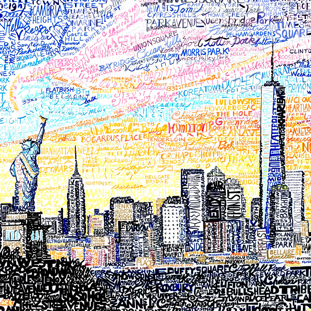 New York City Skyline Word Art Print - PhillyWordArt