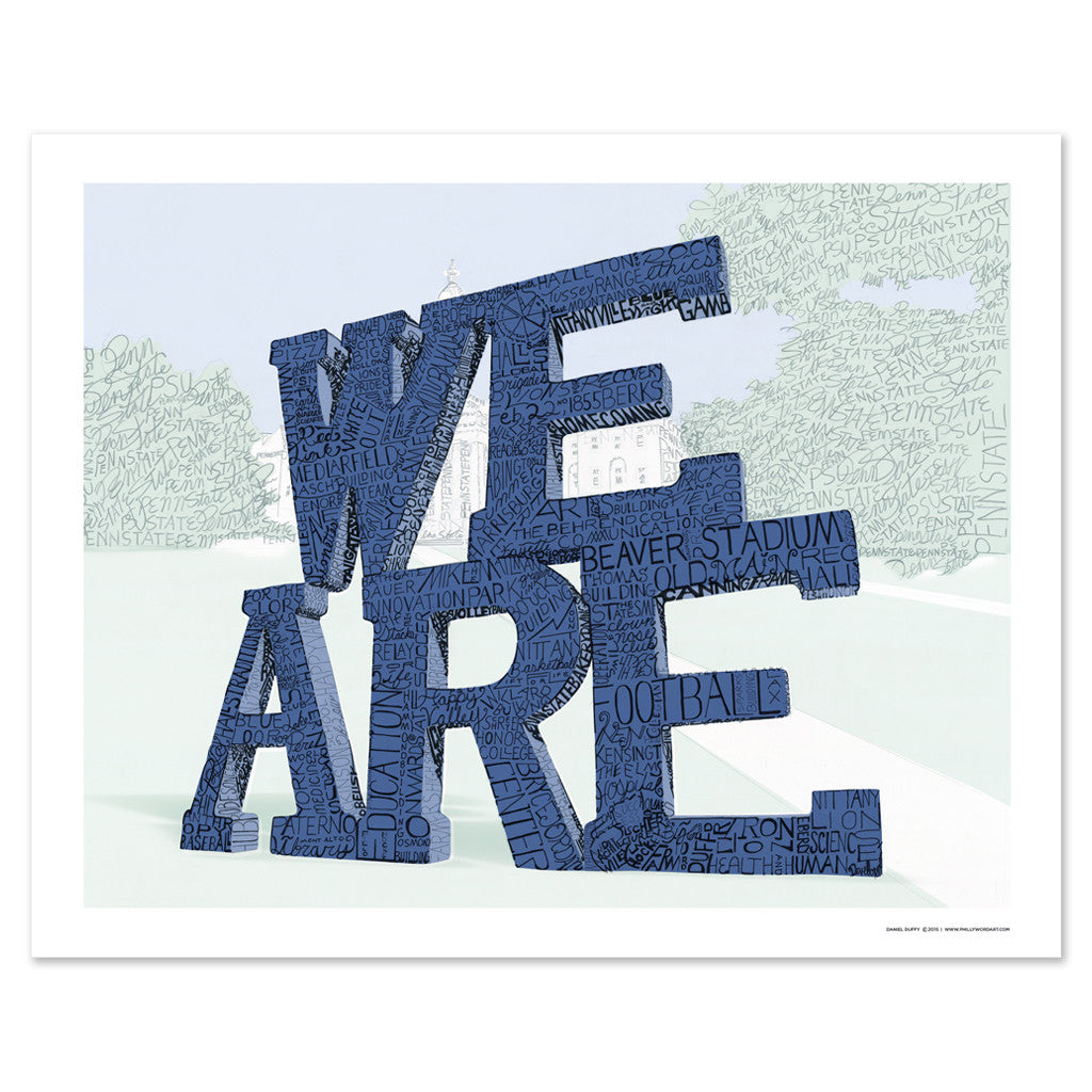 Penn state we are word art print phillywordart for Penn state decorations home