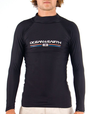 Ocean & Earth Mens Script Rash LS Shirt - Black - Surf' in Monkeys School & Shop