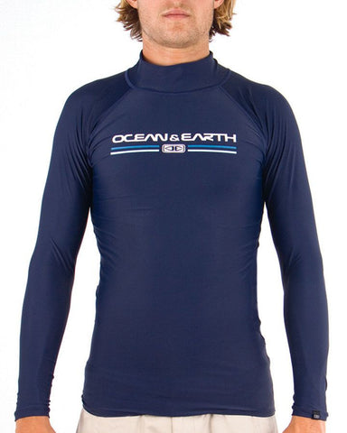 Ocean & Earth Mens Script Rash LS Shirt - Denim - Surf' in Monkeys School & Shop