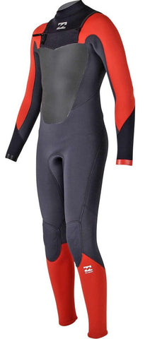 Billabong 4/3 Junior Wetsuit Absolute Comp Chest Zip Orange - Surf' in Monkeys School & Shop
