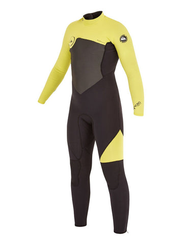 Quiksilver Youth Wetsuit Syncro GBS 4/3mm Back Zip - Black/Yellow - Surf' in Monkeys School & Shop