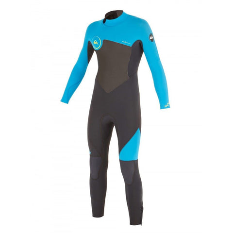 Quiksilver Boys Syncro GBS 4/3mm Back Zip Steamer Wetsuit - Black/Blue - Surf' in Monkeys School & Shop