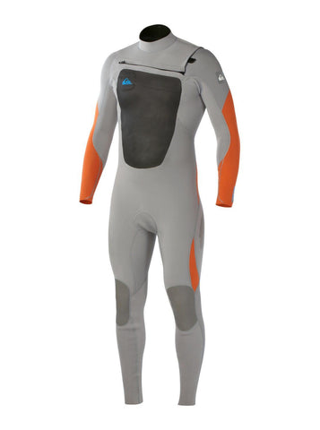 Quiksilver Men Syncro 4/3 Chest Zip Wetsuit - Grey/Orange - Surf' in Monkeys School & Shop