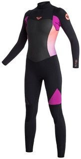 Roxy Women Wetsuit Syncro GBS 4/3 Back Zip - Black/Violet/Coral - Surf' in Monkeys School & Shop