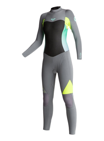 Roxy Women Wetsuit Syncro GBS 4/3 Back Zip Fullsuit - Grey/Lemon - Surf' in Monkeys School & Shop