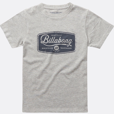 Billabong Pitstop Short Sleeve Tee Boys - Grey Heather - Surf' in Monkeys School & Shop