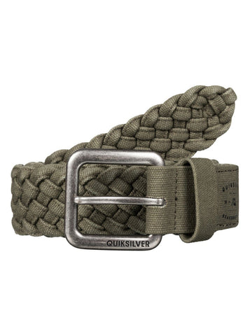 Quiksilver London Weave Belt - Dusty Olive/Black - Surf' in Monkeys School & Shop