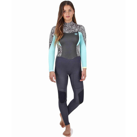 Billabong 4/3 Women Wetsuit Synergy Back Zip Geo Diamond - Surf' in Monkeys School & Shop