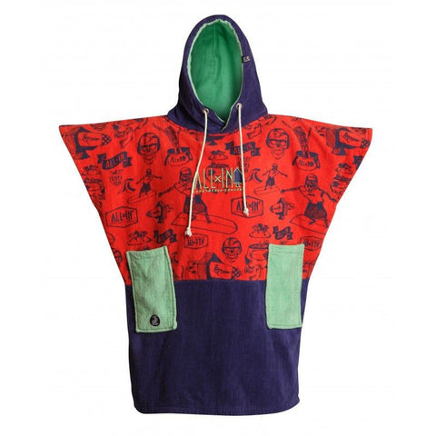 All In Surf Poncho Little Dragon Junior - Cobalt/Red Skeleton/Mint - Surf' in Monkeys School & Shop