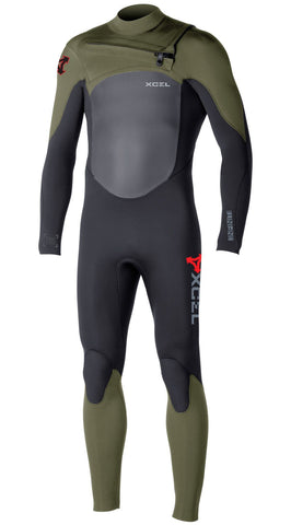 Xcel Men Wetsuit Infiniti X2 TDC Fullsuit 4/3 - Black/Moss - Surf' in Monkeys School & Shop