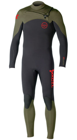 Xcel Men Wetsuit Infiniti Comp Fullsuit 4/3 - Black/Moss - Surf' in Monkeys School & Shop