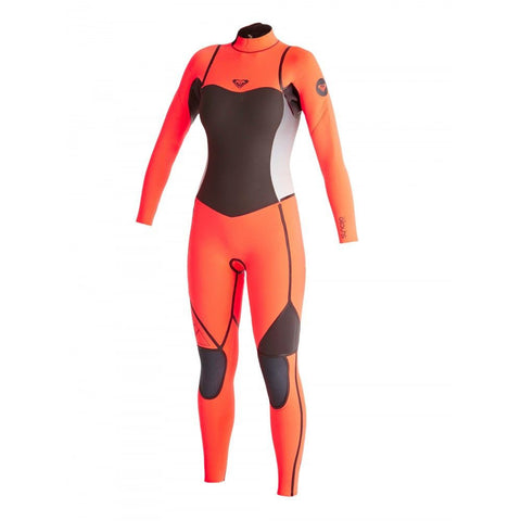 Roxy Women Wetsuit Syncro LFS 4/3 Back Zip Steamer - Black/Tropical Pink - Surf' in Monkeys School & Shop