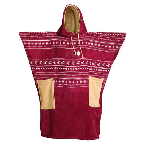 All In V Surf Poncho Bumpy Line - Burgundy Print/ Vanilla - Surf' in Monkeys School & Shop
