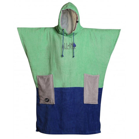All In V Surf Poncho Bumpy Line - Mint/ Cobalt/ Chiné - Surf' in Monkeys School & Shop