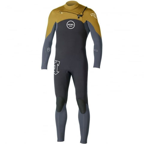 Xcel Men Wetsuit Infiniti Comp X2 4/3 Chest Zip - Mustard - Surf' in Monkeys School & Shop