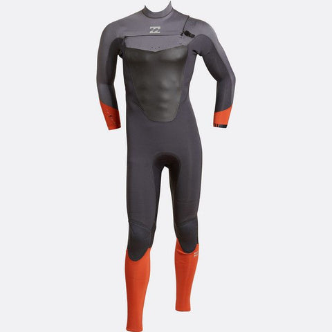 Billabong 4/3 Men Wetsuit Absolute Comp Chest Zip Orange/Graphite - Surf' in Monkeys School & Shop