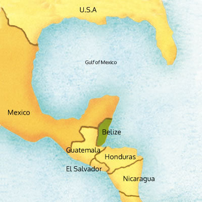 hand drawn map of guatemala and north central america