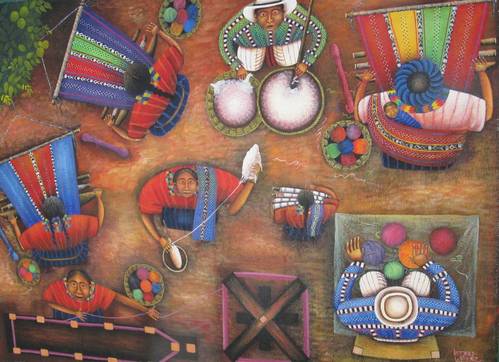 overhead view of Street Mural in San Juan La Laguna depicting the steps of backstrap loom weaving