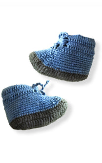 Hand crocheted all cotton booties in slate blue & gray from San Pablo La Laguna, Lake Atitlan Guatemala side view