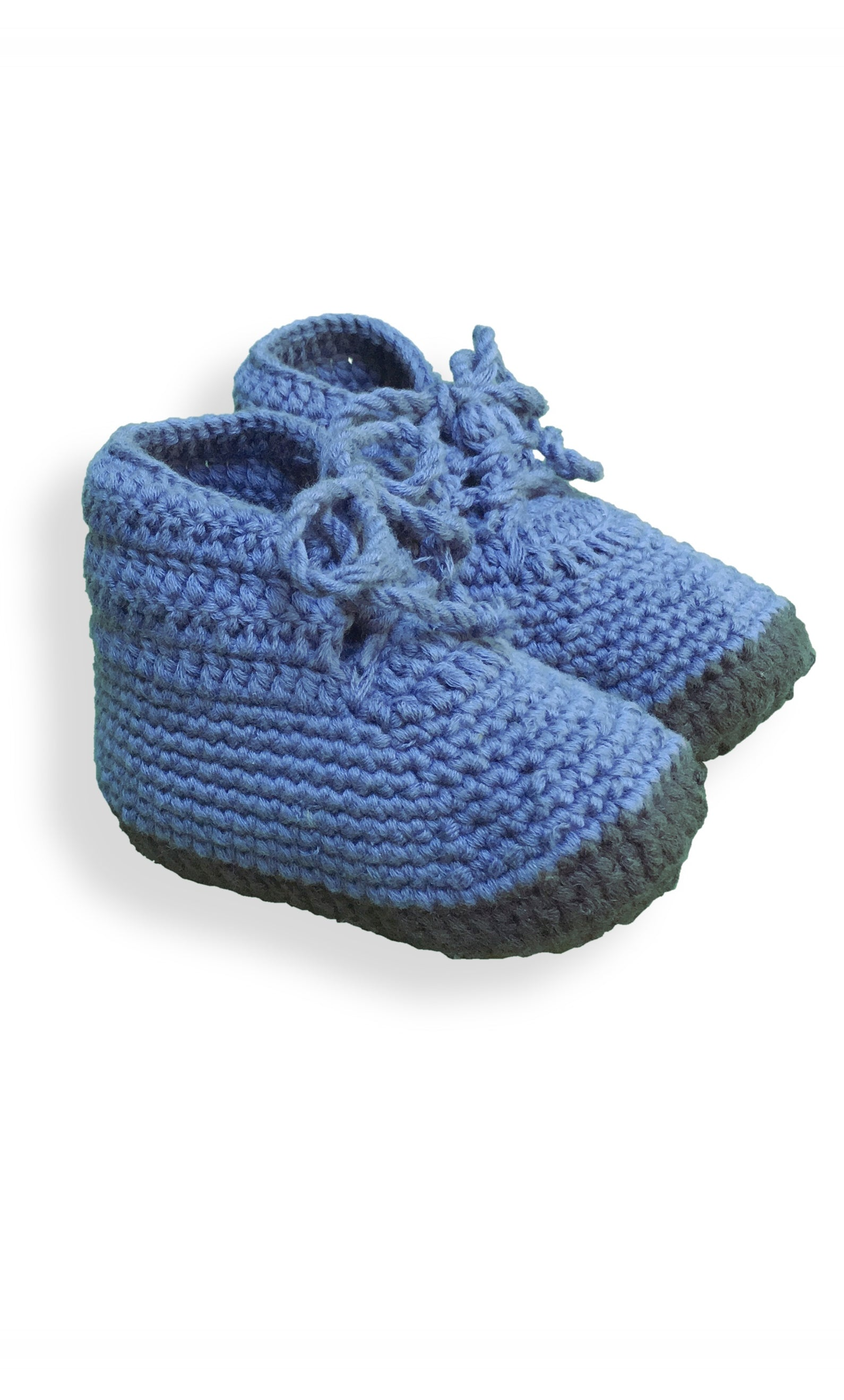 Hand crocheted all cotton booties in slate blue & gray from San Pablo La Laguna, Lake Atitlan Guatemala