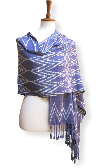 Handwoven ikat shawl silk and cotton lavendar blue with white geometric jaspe designs.  Backstrap loom guatemalan textile front cross view