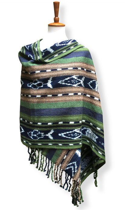 Handwoven rebozo shawl 3 indigo ikat panels Heavy Cotton Emeralds and Sapphires with adobe brown backstrap loom guatemalan textile front drape view