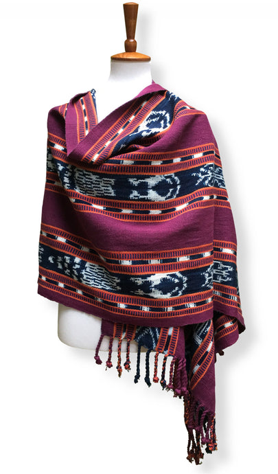 Handwoven rebozo shawl with 3 panels of indigo ikat Heavy Cotton natural dyes.  Burgundy, orange & white backstrap loom guatemalan textile front drape view