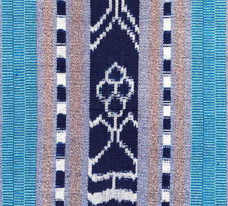 Handwoven Rebozo shawl with indigo ikat panels. Shades of aqua and sky blue with tan and white.  Heavy Cotton Backstrap Loom Woven Guatemalan textile. Jaspe detail view